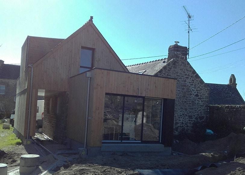 extension bois pierres