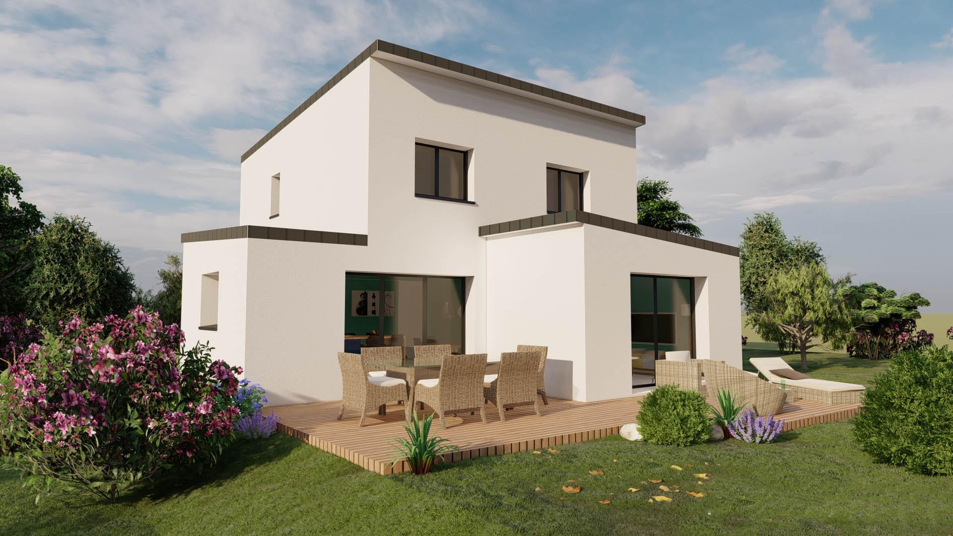 Maison contemporaine à toit plat